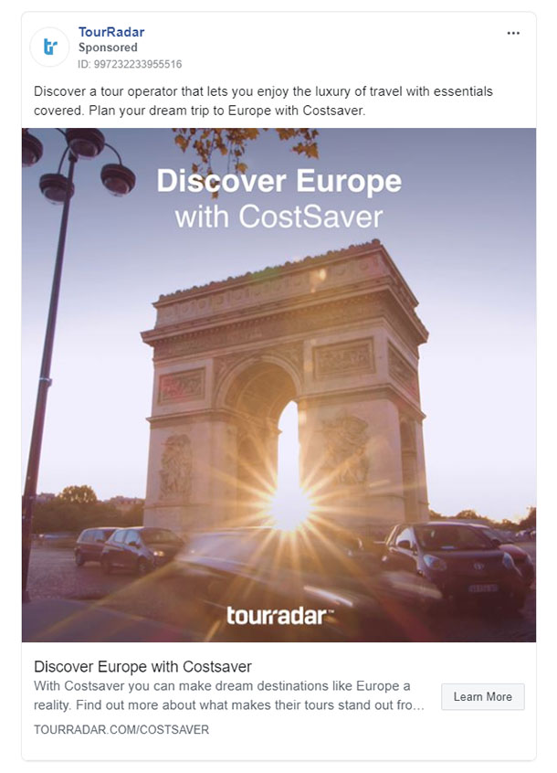 Facebook Ads - Travel Ad Example - Tourradar