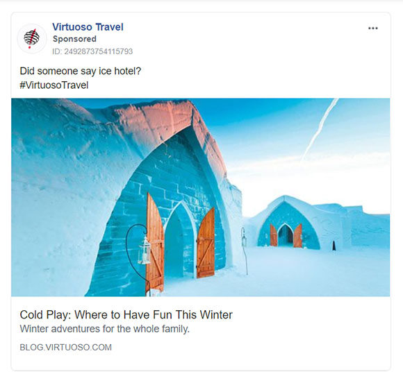 Facebook Ads - Travel Ad Example - Virtuoso